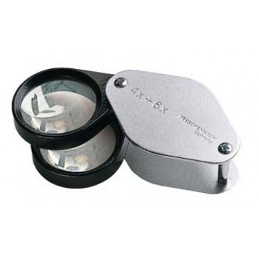 Metal Precision Folding Magnifier - 4x+6x==10x Magnification - 30 mm Lens - Biconvex