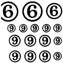 White Circled Numbers and Check Marks Transfer Sheet